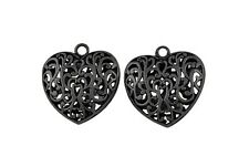 3 x Large Puffed Filigree Tibetan Silver Black Colour Heart Pendant Necklace M17