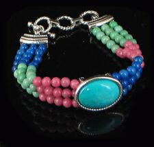 Sterling Silver HUGE Turquoise Variscite Lapis Bracelet