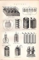 1880 Aufdruck ~Batterie~ Elektrisch Voltaik FAURE'S GROVE'S BUNSEN'S De La RUE'S