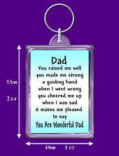 Dad Verse Keyring - Birthday - I Love You - Thank You - Special Keepsake Gift