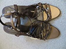 BNWT - brown/bronze strappy leather wedge heels - Viva La Diva - size 7
