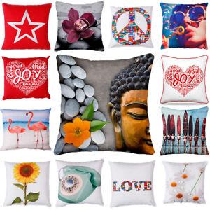 "18""x18 Merry XMAS Christmas Gift Home Decor Sofa Throw Pillow Cushion Cover Red"