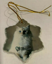 Birman Cat Porcelain Star Shaped Christmas Ornament New