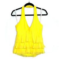 Joseph Ribkoff Womens Yellow Sleeveless Deep V Neck Layered Front Blouse Size 10