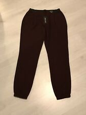 BNWT River Island Oxblood Dark Red Black Side Trim Tapered Trousers Sz 6R