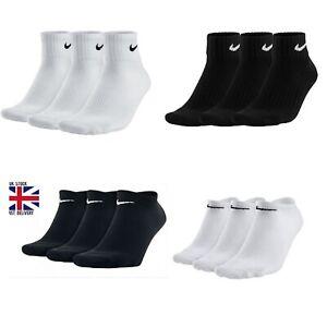 NIKE Socks 3 Pack Sports Ankle Logo Socks Pairs Men's - Black White Size UK 6-11
