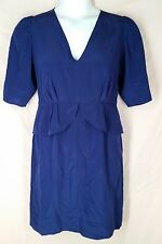 STELLA MCCARTNEY Cobalt blue silk V neckline Peplum dress 1/2 sleeve size 44 8