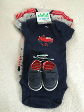 Nwt Carter's Child Of Mine Fire engine Little Hero 3 bodysuits shoes 0-3 Mos