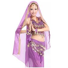 12 Colors Adult Belly Dance Costume Chiffon Head Veil Shawl Gold Trim Party veil