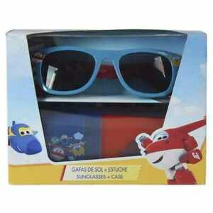 Kids Boys Girls Super Wings Sunglasses & case Various Colors-Blue,Pink,Red/Blue