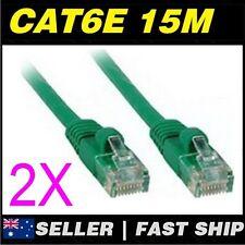 2x 15m Cat 6 Cat6  Green Premium Ethernet Network LAN Patch Cable Lead