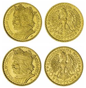 POLAND , GOLD SET 10 & 20 ZLOTYCH 1925 UNC ( SPA ) POLAND 900TH ANNI., RARE