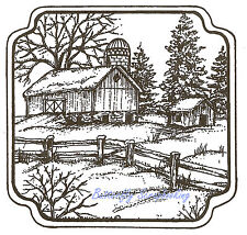 Winter Scene Country Barn Fence Wood Mounted Rubber Stamp NORTHWOODS PP9626 New