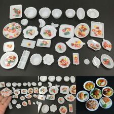 33Pcs/set Dishes Plate Kitchen Mini Food Tray Model Barbie House Toys Gift