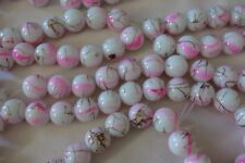 20 White/Pink/Gold 12mm Opaque Glass Beads #g3810 Combine Post-See Listing