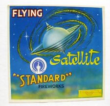 Vintage Fireworks Label with Flying Satellite Mid Century Style Nice Graphics!