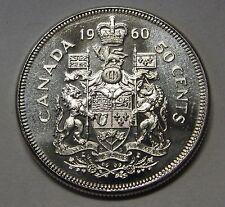 Awesome Flashy & Frosty 1960 Canada Silver Half Dollar Grading Gem BU From Roll