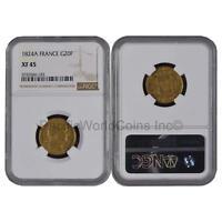 France 1824A 20 Francs Gold NGC XF45 SKU#6276