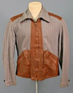 Men's 1940s Genuine American Wool & Leather Sport Jacket Sz M 40s Vtg 2 Tone