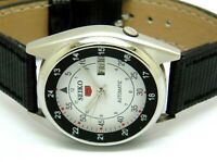 SEIKO 5 AUTOMATIC MEN,S STEEL PLATED VINTAGE WHITE DIAL MADE JAPAN WATCH RUN