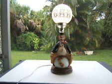 VINTAGE BAR LAMP 1984 ALBERT PRICE CLOWN ON WORLD GLOBE MILK GLASS SHADE EUC