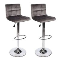 Set Of 2 Bar Stool Velvet Fabric Swivel Hydraulic Adjustable Counter Chair Gray