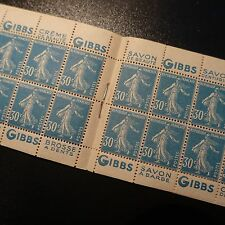 CARNET N°192-C2 PUB GIBS TIMBRE SEMEUSE N°192 NEUF ** GOMME D'ORIGINE MNH