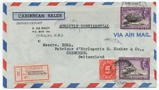NICE COVER SENT FROM CURACAO TO SWITZERLAND 24-VIII-1946. CERTIFIED MAIL