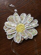 A1 Vintage Flower Sequin Appliqué Yellow Sewing Projects Costume Daisy Beads