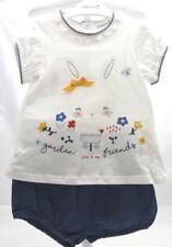 Babaluno ensemble 2 pièces tee-shirt et bloomer denim motif lapin 12-18 mois.