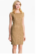 Michael Kors Gold Sequin Tweed Fringe Sleeveless Pocket Sheath Dress 4 S SM