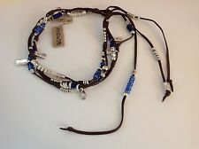"NWT Uno de 50 Silvertone/Leather/Multi Color Beads Choker Necklace 14"""