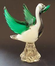 Murano green & black glass vintage Art Deco antique duck bird figurine ornament