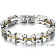 Stainless Steel Motorcycle Chain Curb Link Mens Boys Bracelet Biker Jewelry