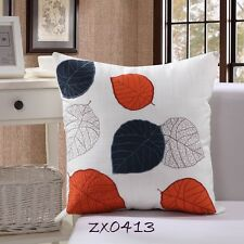 Vintage Bodhi Leaf Stitch Embroidered Decor Linen CUSHION COVER PILLOW CASE 18""