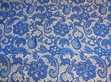 Blu elettrico floreale in pizzo tessuto / vintage cotone venduto Al 0.5Meter