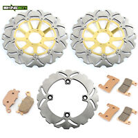 Front Rear Brake Discs Rotors Pads For Honda CBR900RR Fireblade 1998 1999 Wave