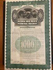 1900 Peoria & Pekin Terminal Railway $1000 Bond Certificate Illinois Rare