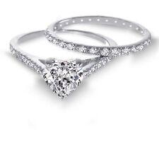 Love 14K White Gold Love Sterling Silver Heart Cut Diamond Engagement Ring Set