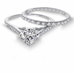 Love 14K White Gold Love Sterling Silver Heart Cut Diamond Engagement Ring Set
