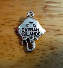 Sterling Silver 3D 21x16mm Stingray says Cayman Islands on the back Charm
