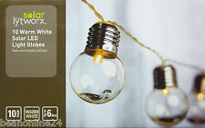 10 Piece Premium LED Solar Clear Globe Festoon String Light Kit