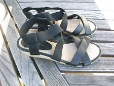 MERONA Black Strappy Ankle Strap Wedge Heel Sandal Womens 6.5M Espadrilles Shoes
