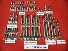 FORD 351 WINDSOR 351W SBF STAINLESS STEEL ENGINE HEX BOLT KIT