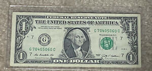 Fancy Serial Number $1 Bill Series Of 2009 Chicago Illinois Number Is70 40 50 60