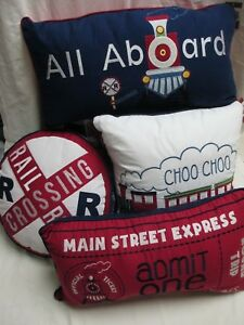RED TRUCK Little Red Caboose Navy Blue Railroad Train 8pc Quilt Pillow Set- Twin