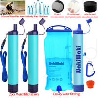 Personal/Gravity Water Straw Filter Purifier Emergency Survival Gear 3-Stage 3L