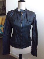 G Star Ladies Brand New Black Leather 3301 Bomber Biker Style  Jacket  Small