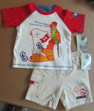 NEW! Flapdoodles 2 Piece Set Top Shorts Shark Island Pirate Parrot size 18 Month