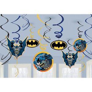 (12) BATMAN HANGING SWIRL DECORATIONS Birthday Party Supplies Superhero Foil New